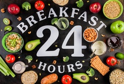 Poster breakfast is 24 hours. Healthy food. A set of cereals, fruits, vegetables, nuts, yogurt. The concept of a healthy diet all day.