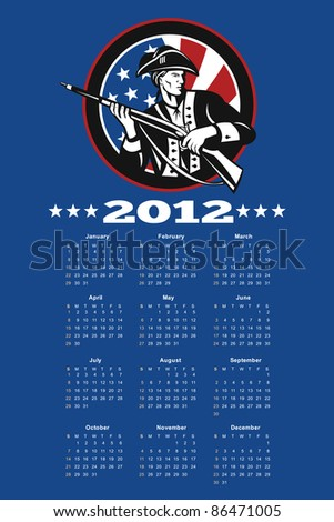 poster calendar 2012 showing American Patriot Minuteman with USA stars and stripes flag done in retro style