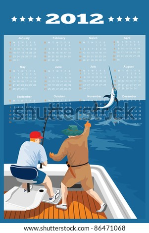 poster calendar 2012 showing Blue Marlin Fish jumping with big game fisherman fishing on boat done in retro style