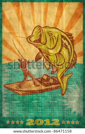 poster calendar 2012 showing Large mouth Bass jumping with fly fisherman fishing on boat done in retro style