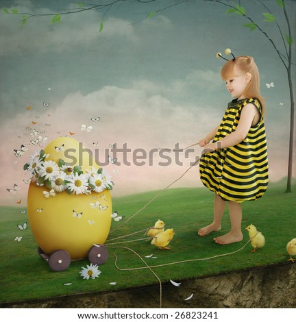 Poster for Easter with a little girl - stock photo