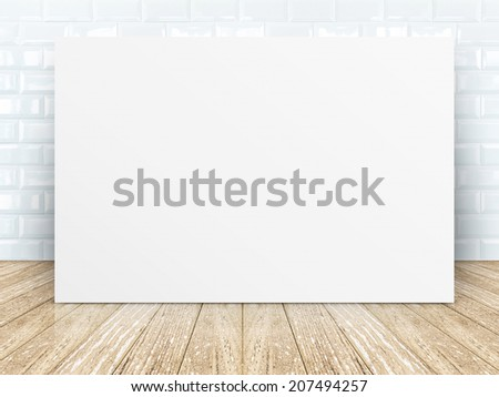 Poster frame at Tiles ceramic room wall with wooden plank floor