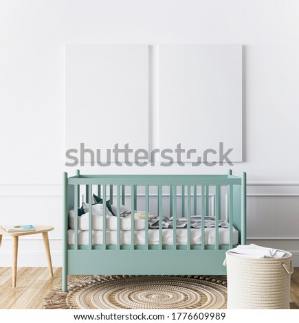 Poster frame in newborn baby bedroom, minimal interior design with pastel green crib, wooden table and two empty canvas  on white wall background, 3D render, 3D illustration Foto stock ©