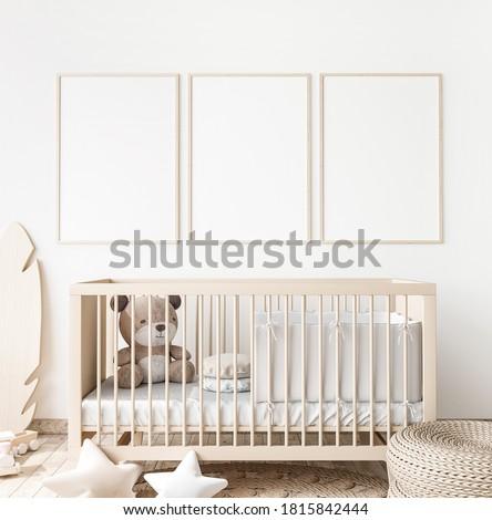Poster frame mock up in child bedroom, Scandinavian unisex nursery design, 3d render, 3d illustration