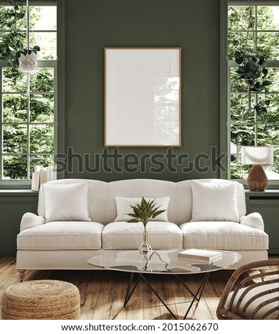 Poster frame mock-up in home interior background with sofa, table and decor in living room, 3d render
