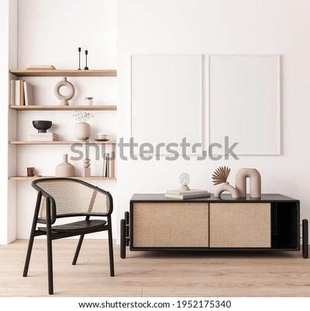 Poster frame mock up in living room interior, modern furniture and wooden decorative, rattan cabinet, black wicker chair, 3d render, 3d illustration