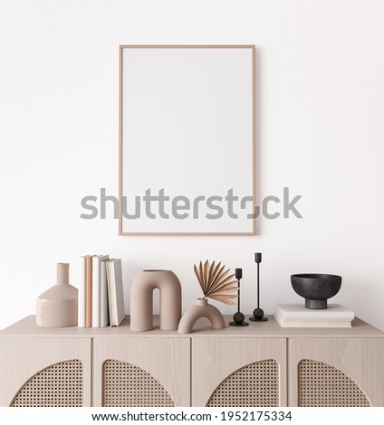 Poster frame mock up in living room interior, modern furniture and wooden decorative rattan cabinet with trendy home accessories, 3d render, 3d illustration