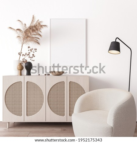 Poster frame mock up in living room interior, modern furniture and wooden decorative rattan cabinet with trendy dried flowers, white armchair, 3d render, 3d illustration
