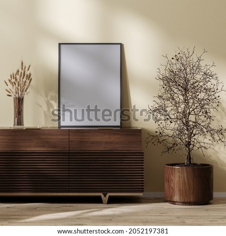 poster frame mock up on wooden chest of drawers in living room home interior with dried  grass plants, 3d rendering Photo stock ©