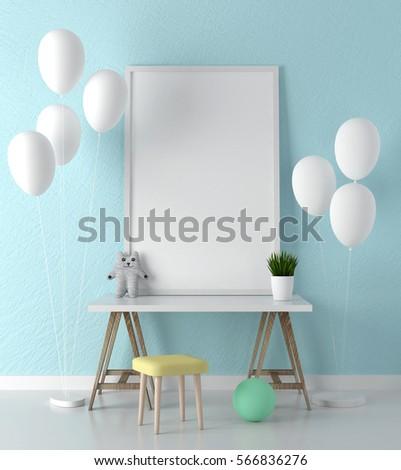 Poster frame mockup in room 3d rendering
