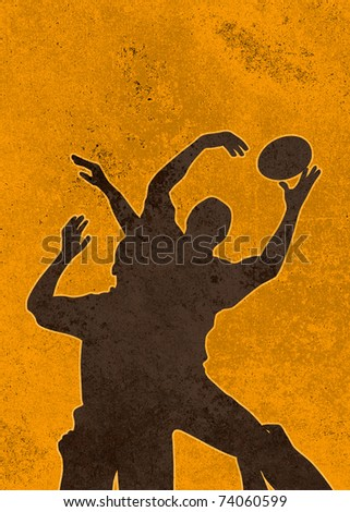 poster illustration of a rugby player jumping catching ball in lineout in grunge texture background