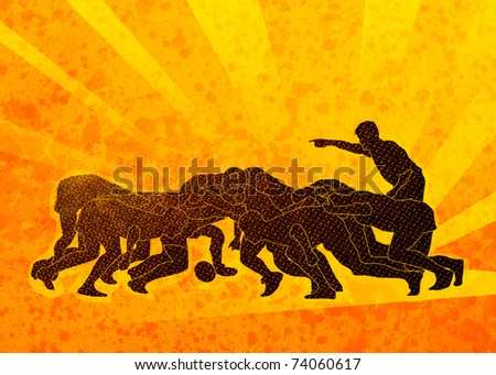 poster illustration of rugby players engaged in scrum with sunburst in background and grunge texture - stock photo