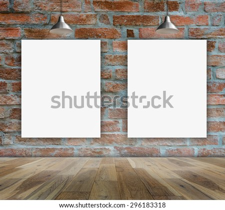 Poster in Brick wall with Ceiling lamp for information message