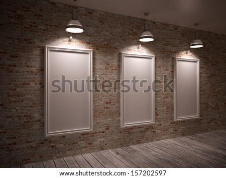 Poster in room on a brick wall with lamps & frame #157202597
