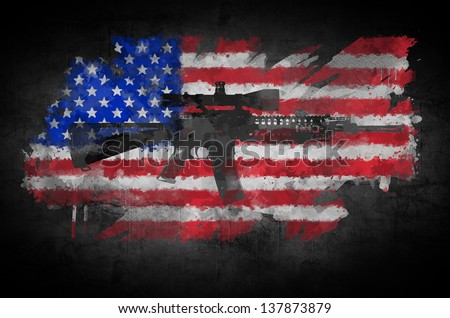 Poster M16 rifle on a background of the American flag