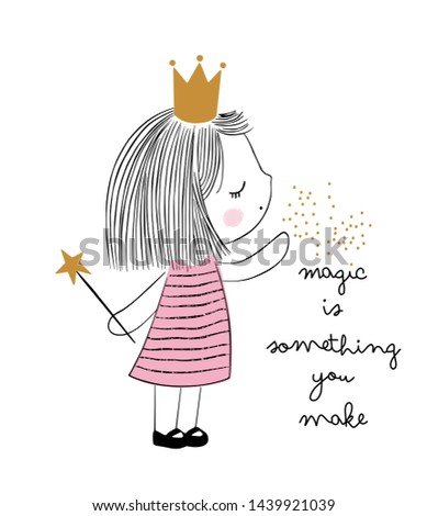 poster magical world with fairy and Magic writing /Magic Crown