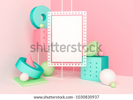 Poster mock up in geometric shapes interior. Trendy 3d render illustration for social media banners and promotion. Vivid colors primitives on background. Abstract composition in modern style.
