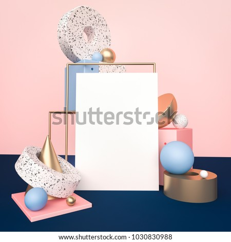 Poster mock up in geometric shapes interior. Trendy 3d render illustration for social media banners and promotion. Pastel colors primitives on background. Abstract composition in modern style.