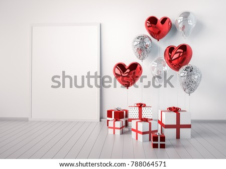 Poster mock up with red and silver glossy 3d realistic balloons in heart shape with stick. Valentine's Day or wedding day romantic themes for party, events, presentation or promotion banner, posters.
