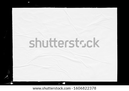 Poster mockup isolated on black background. Blank glued creased paper sheet texture Foto stock ©