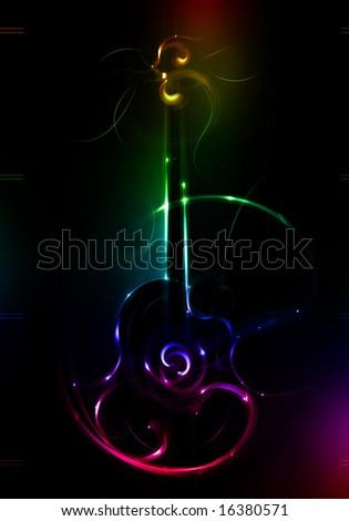 Poster Neon Guitar A Dark Background Stock #0: stock photo poster neon guitar on a dark background