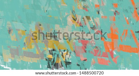 Poster oil painting element. 2d illustration. Texture backdrop form. Creative chaos structure mix matrix material creation bitmap figures. Acrylic vivid variety.