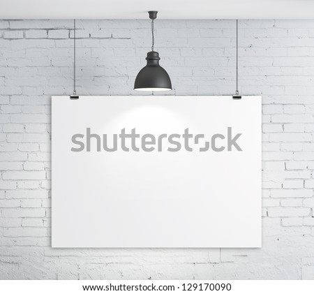 poster on brick wall and plafond