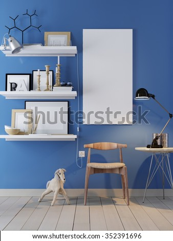 Poster on the wall and interior. Blue wall. 3D rendering