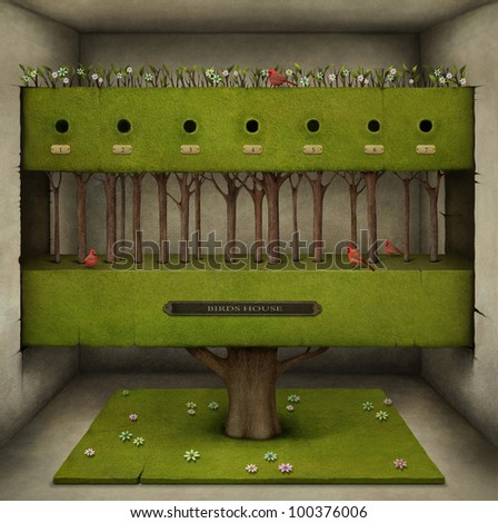 Poster or illustration of  tree in the room. Computer Graphics.