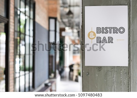 Poster outside a coffee shop mockup