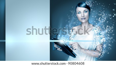 Poster photo of young pretty woman using her tablet computer and falling to pieces. Virtual life concept. Frozen cold look. Lots of Copyspace