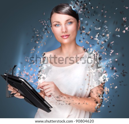 Poster photo of young pretty woman using her tablet computer and falling to pieces. Virtual life concept