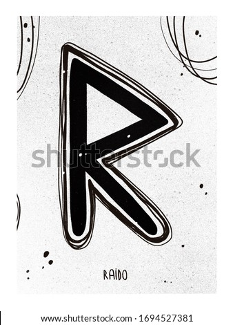 Poster Raido runa. Black white print runes set. Line art symbols of the Scandinavian runes.