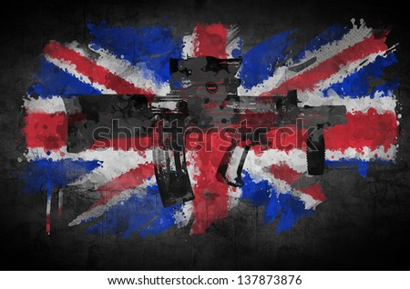 Poster rifle on a background of the flag Great Britain