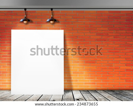 Poster standing in Brick wall with Ceiling lamp