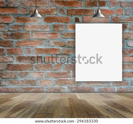 Poster standing in Brick wall with Ceiling lamp for information message