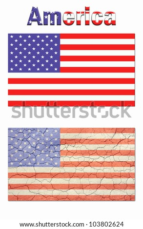 Poster style, nice new looking american flag,top. Cracked, and aged american flag bottom. And the word America on top./ America Poster, add your own text. /  Great political poster material, or?