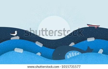 Poster with Ecological Theme: Plastic Pollution in the Ocean. The Whale with Plastic Bottles in Stomach, The Seabird sitting on Flowing Plastic Bottle. Shades of Blue.