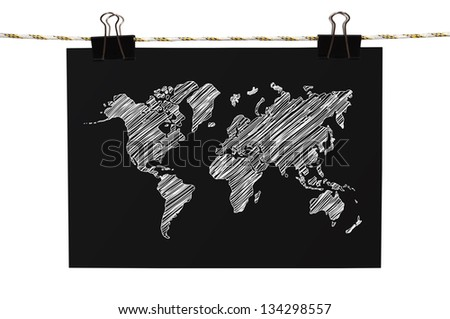 poster with world map hanging on rope
