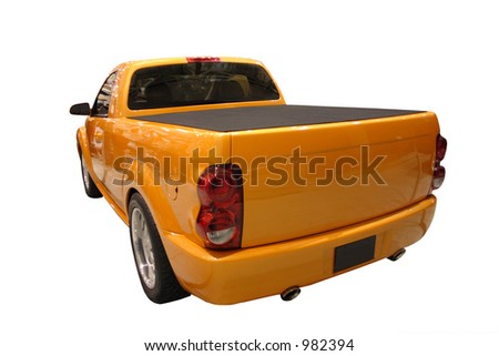Posterior View Of Yellow Pickup Truck Isolated Over White