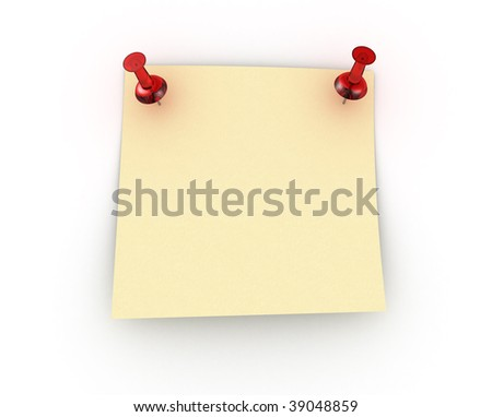 Postit note with two red push pins over white background - stock photo