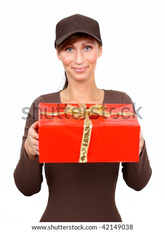 Postman delivering christmas presents and gifts