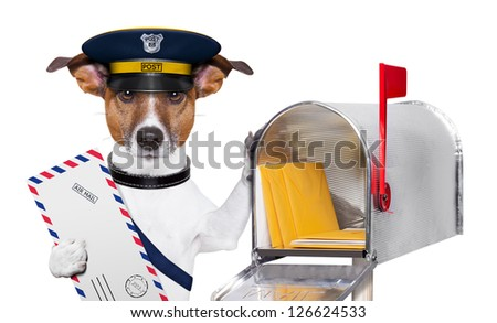 postman mail dog with a air mail letter and mail box