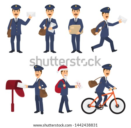 Postman mailman delivers mails in postbox or mailbox and post character carries mailed letters in letterbox illustration set postal delivery service isolated on white background