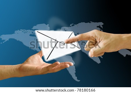 Postman's hand carry mail icon and finger pushing mail