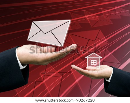 Postman send letter to home, Post business concept