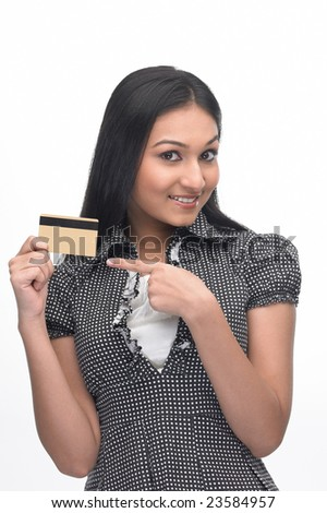 Posture of Asian girl showing the  credit-card