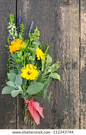 posy with various medicinal herbs