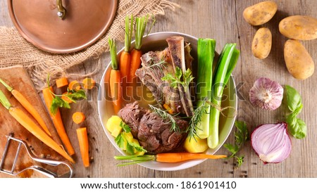 pot au feu- traditional french dish with ingredient Foto stock ©