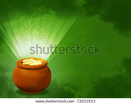 Pot, filled with gold coins